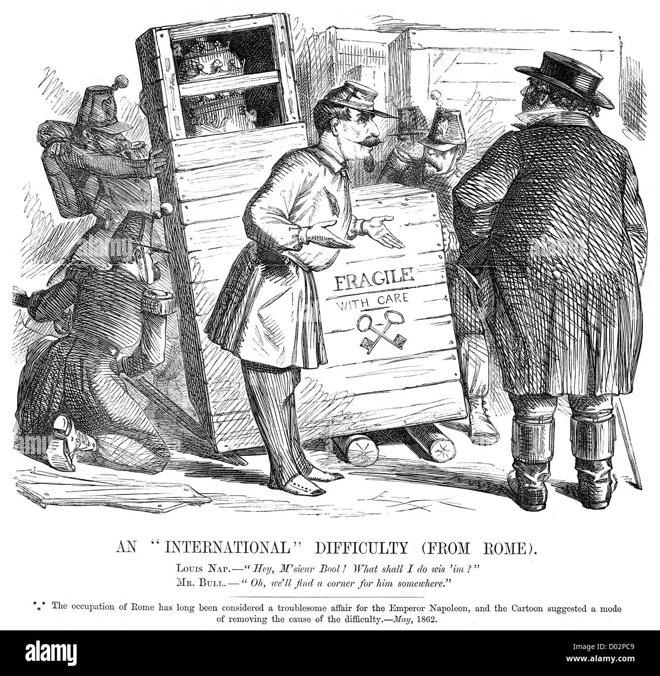 An international difficulty from Rome. Political cartoon about the French occupation of Rome, May 1862 - Stock Image
