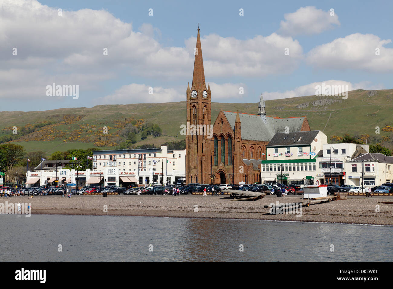 View looking towards the seafront and beach in the seaside town of Largs in North Ayrshire, Scotland, UK - Stock Image