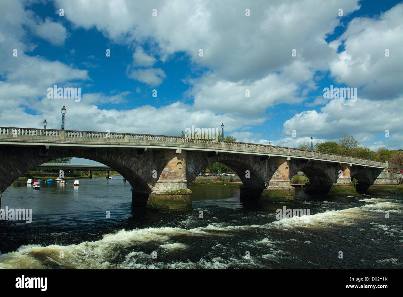 Dumbarton Bridge and the River Leven, Dumbarton - Stock Image