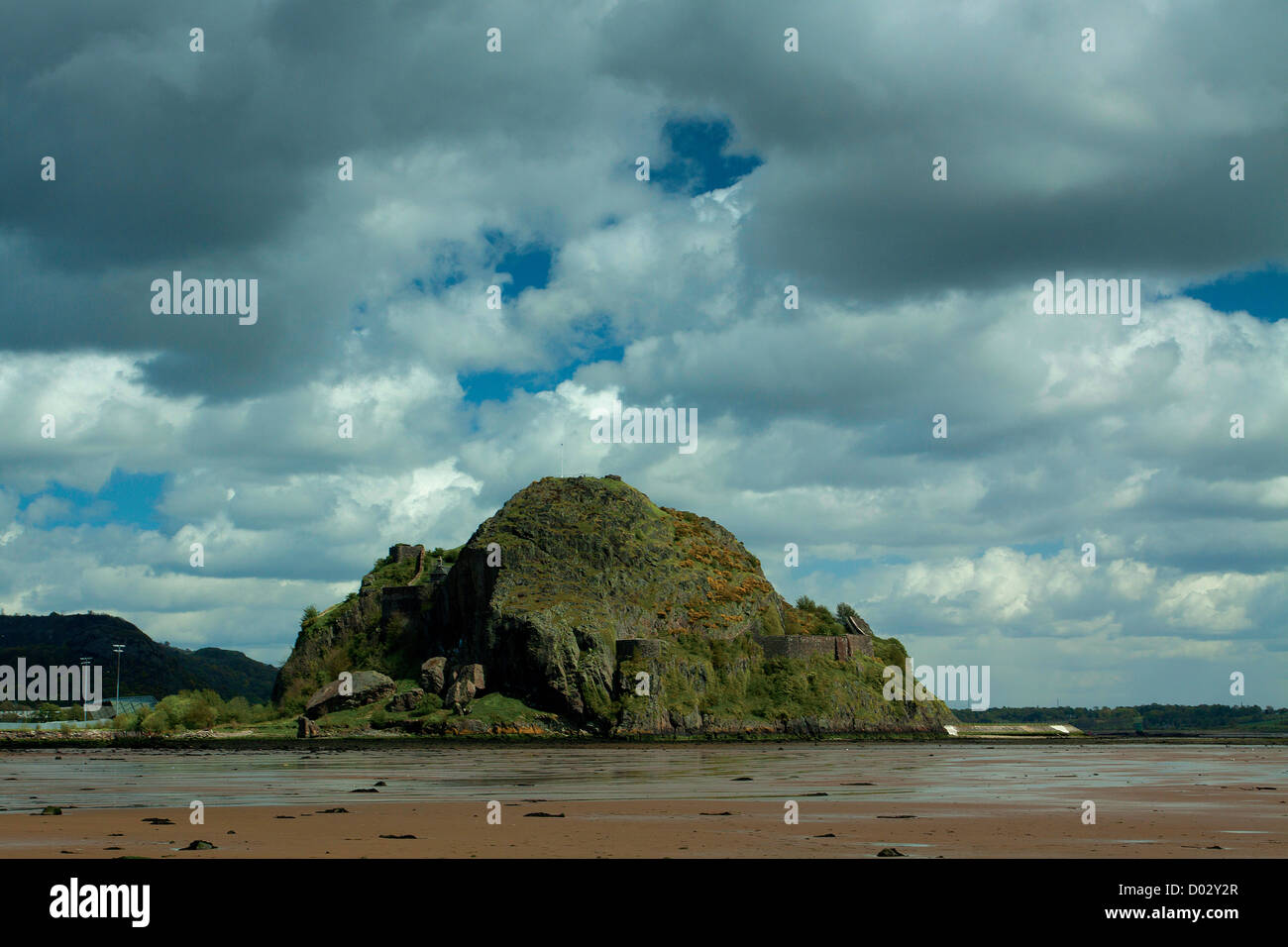 Dumbarton Rock and the River Clyde from Levengrove Park, Dumbarton - Stock Image