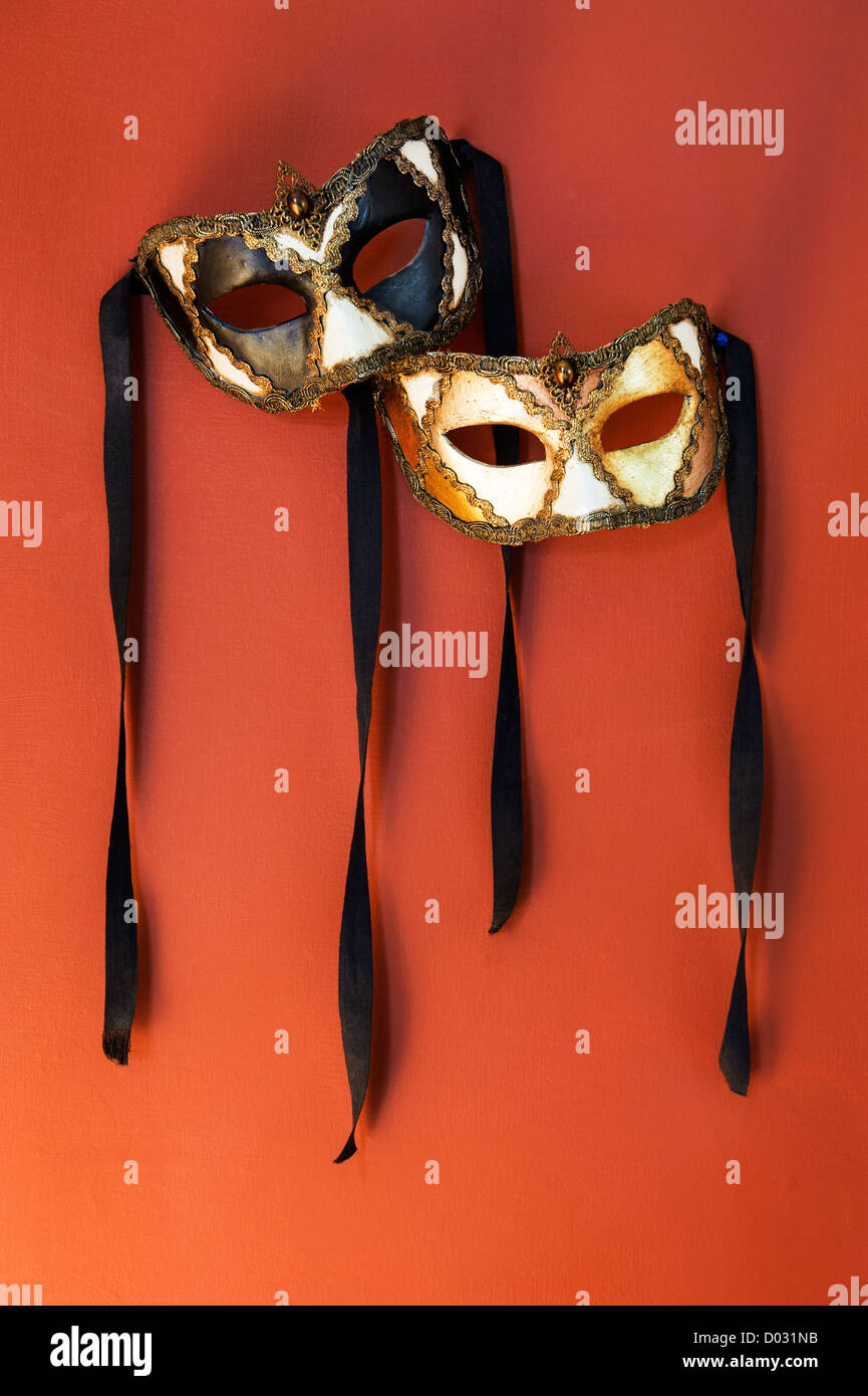 A pair of Venetian Carnival masks - Stock Image