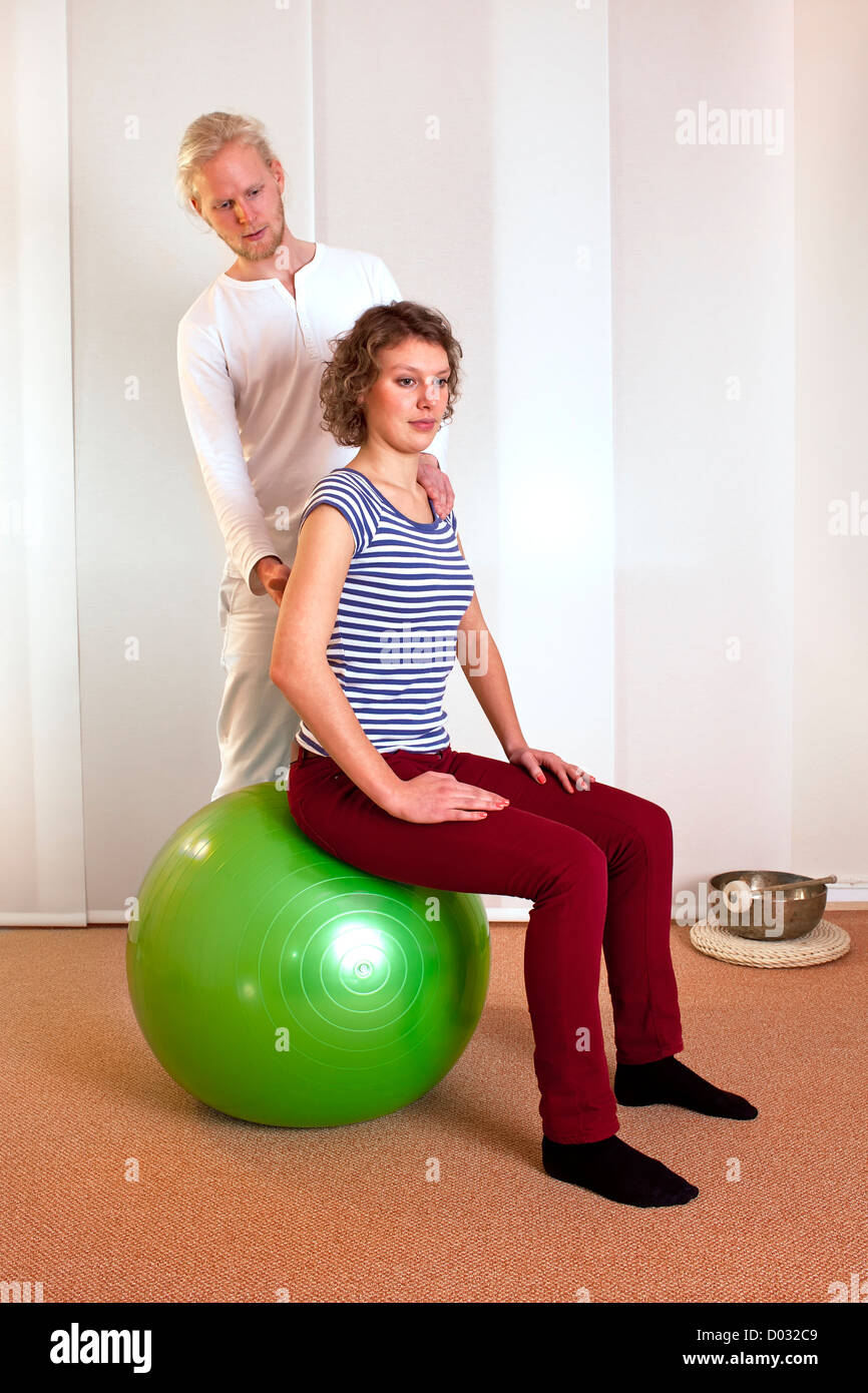 Physiotherapist Correcting, Posture - Stock Image