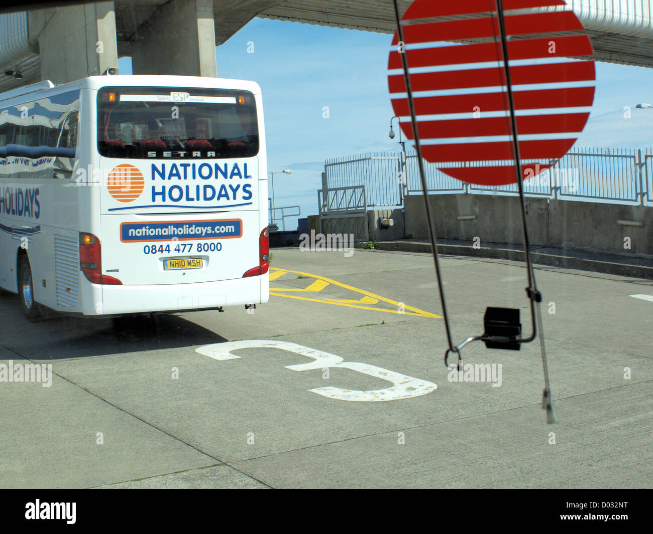 National Express coaches boarding the Irish Sea Ferry Service at Holyhead, Wales in the united kingdom. Stock Photo