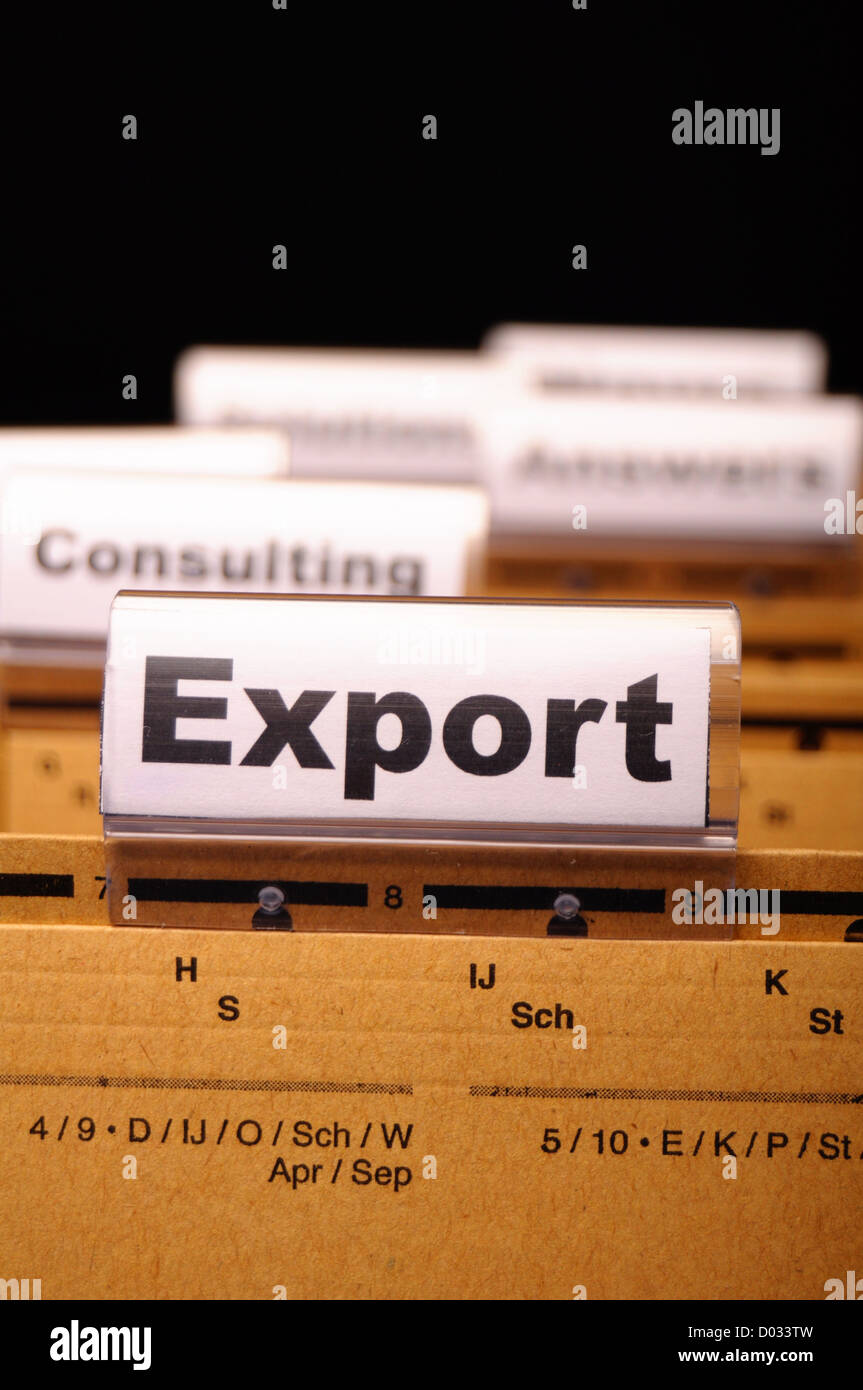 export word on business folder showing globalization trade or paperwork concept - Stock Image