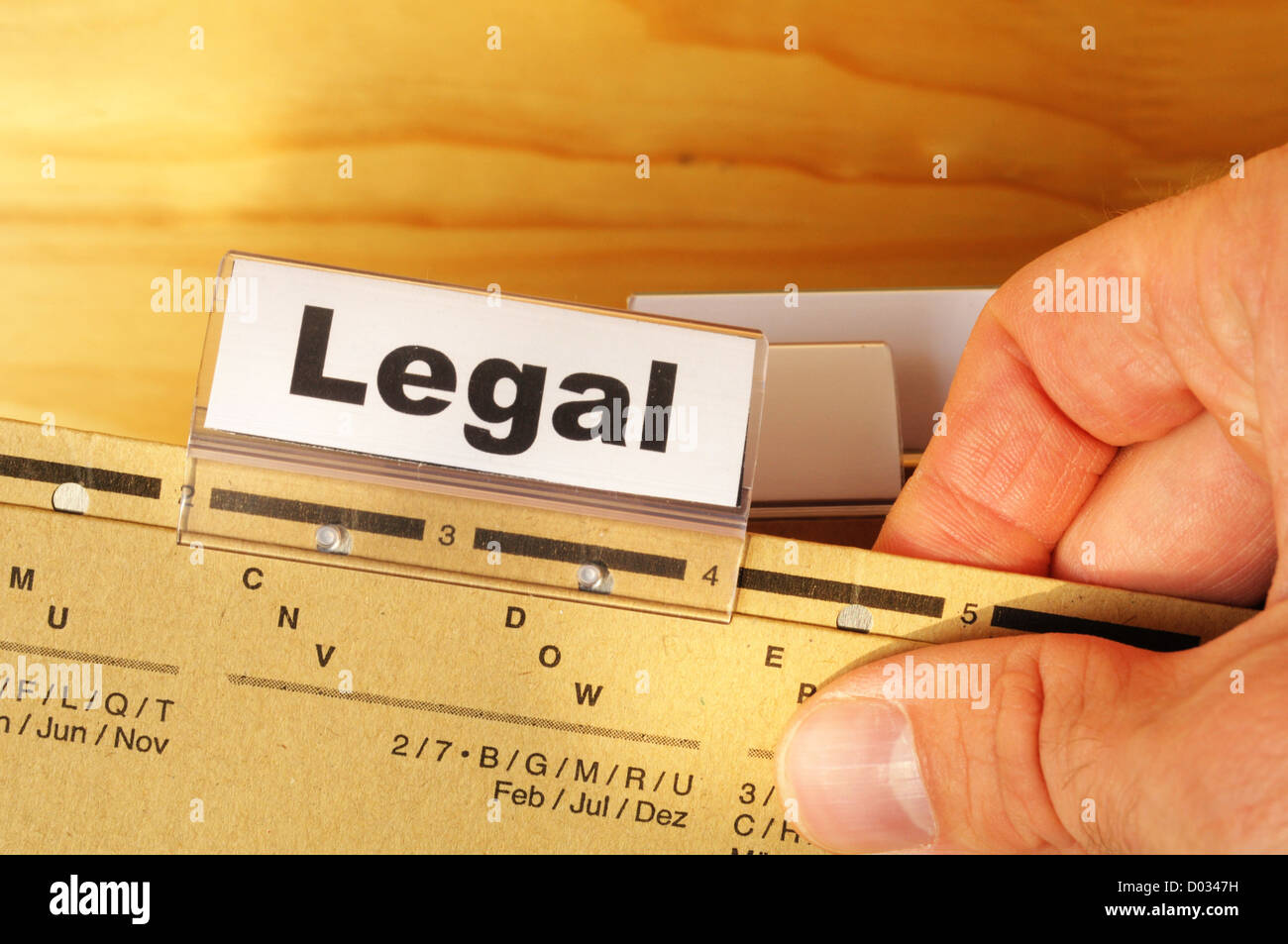 legal word on folder index showing law court or justice concept - Stock Image