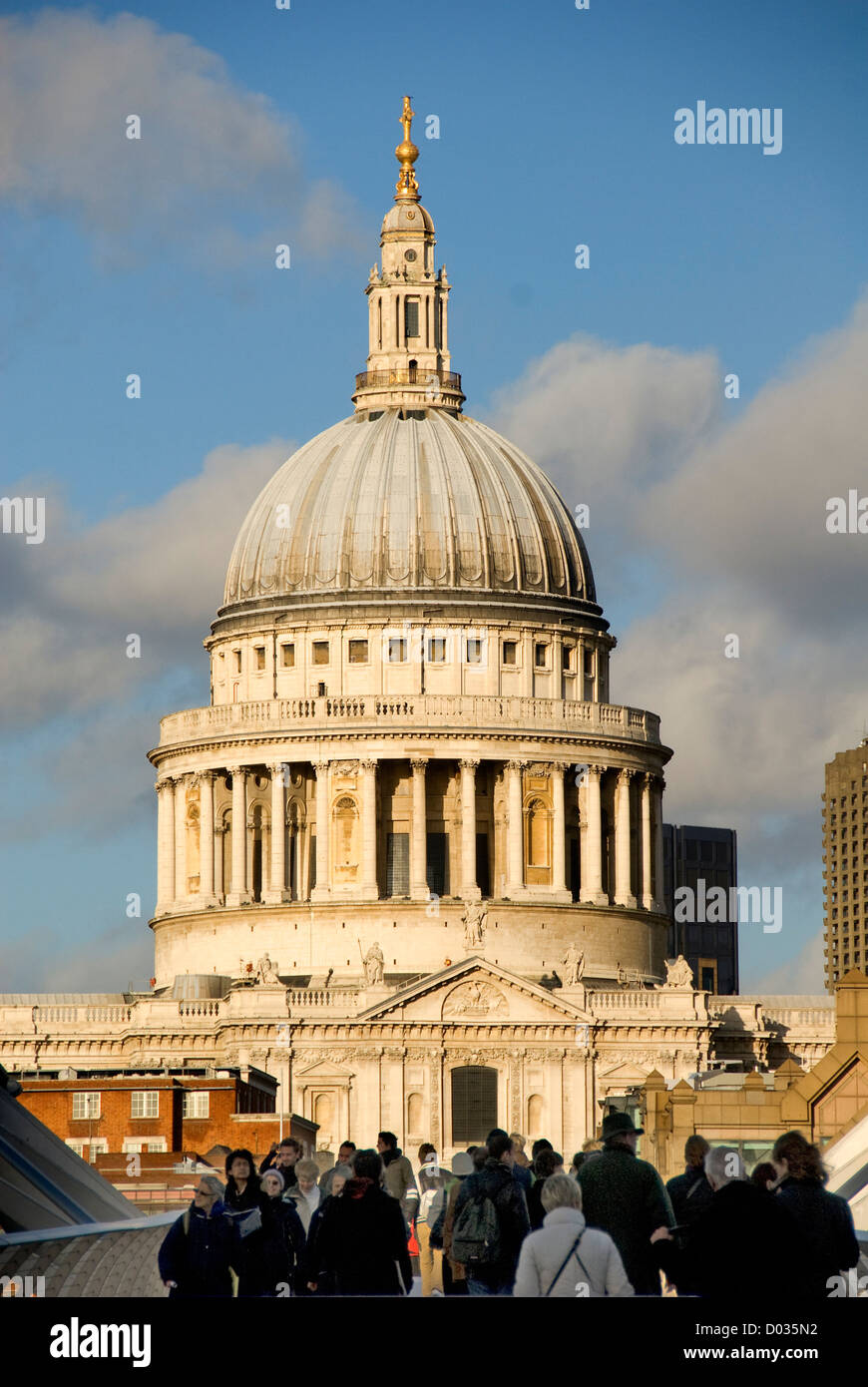 Pedestrians on Millennium Bridge, St Paul's Cathedral, London, England, United Kingdom, Europe - Stock Image