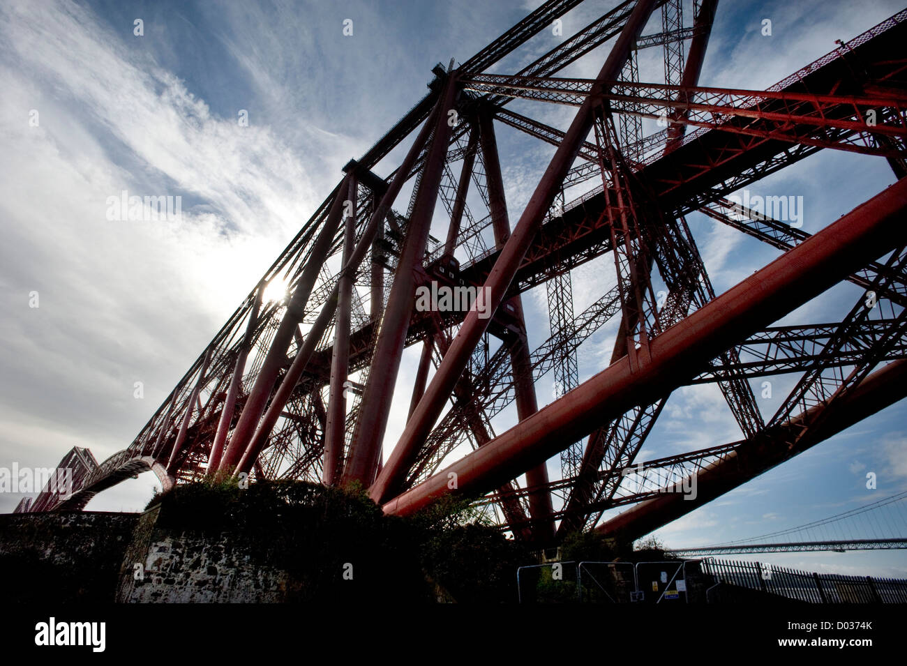 The Forth Railway Bridge pictured from the shore of he Firth of Forth at North Queensferry, Fife Scotland. Stock Photo