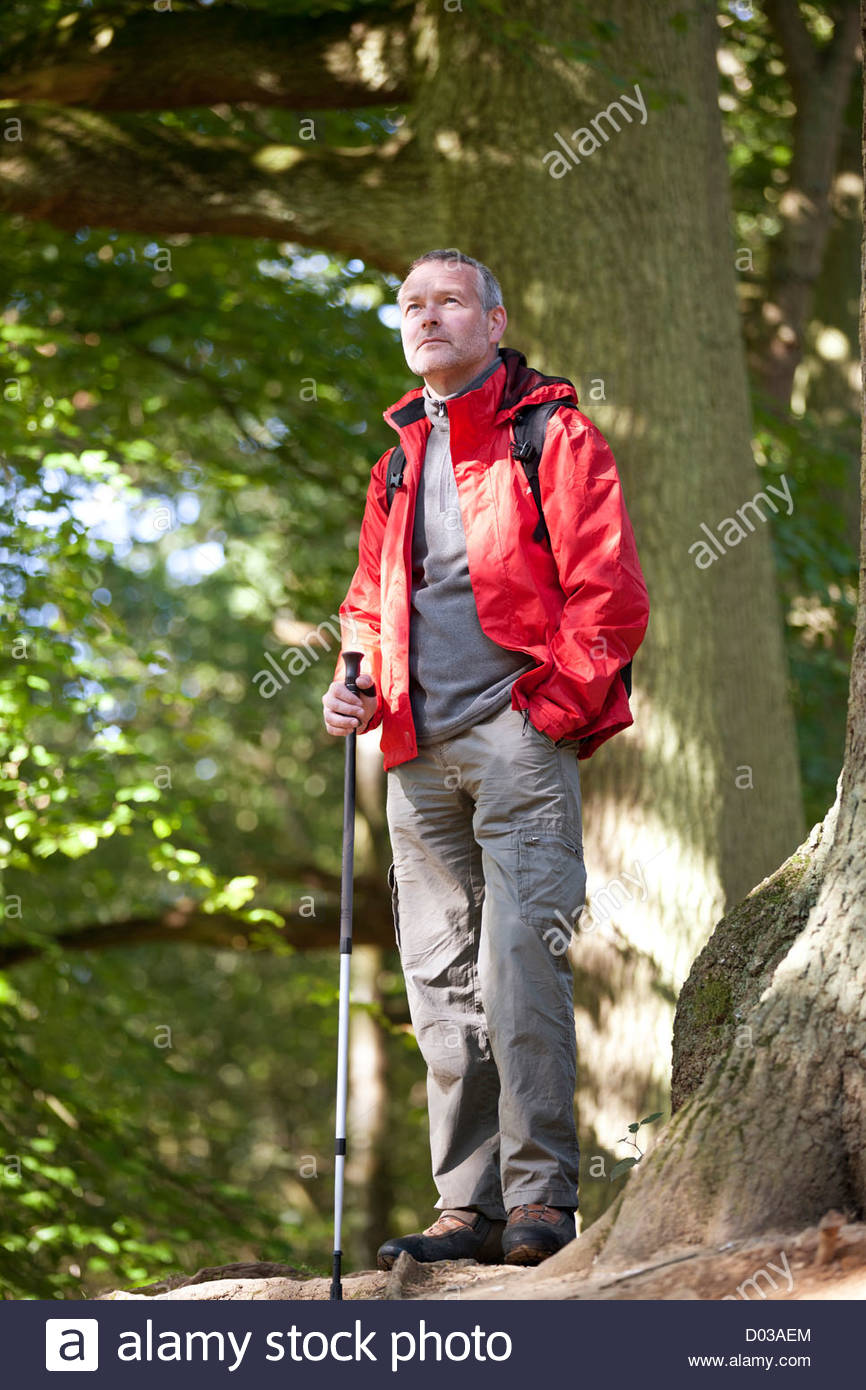 A mature man standing in the countryside looking at his surroundings - Stock Image