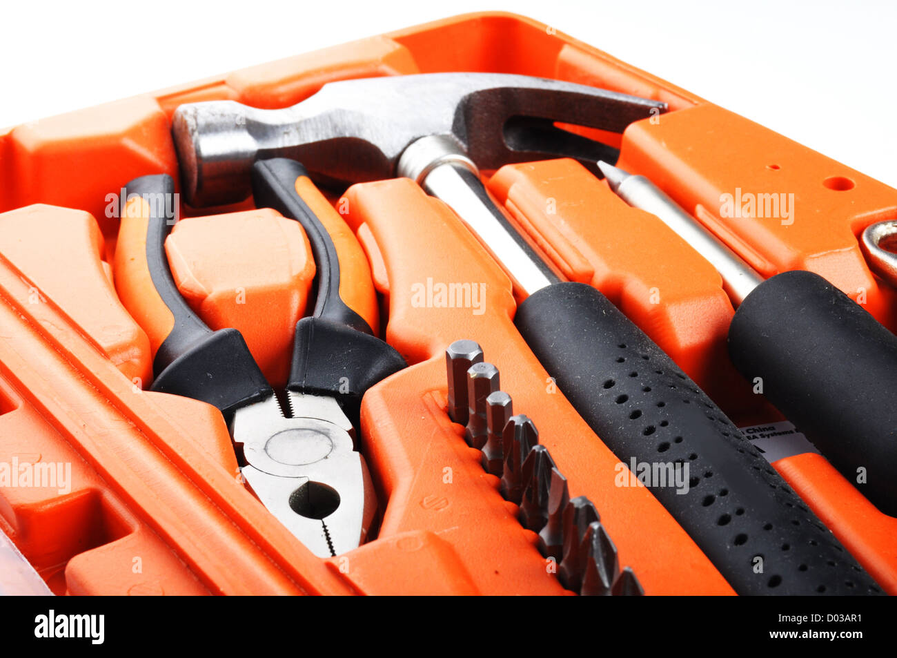 toolbox kit with hammer and screwdriver showing construction concept - Stock Image