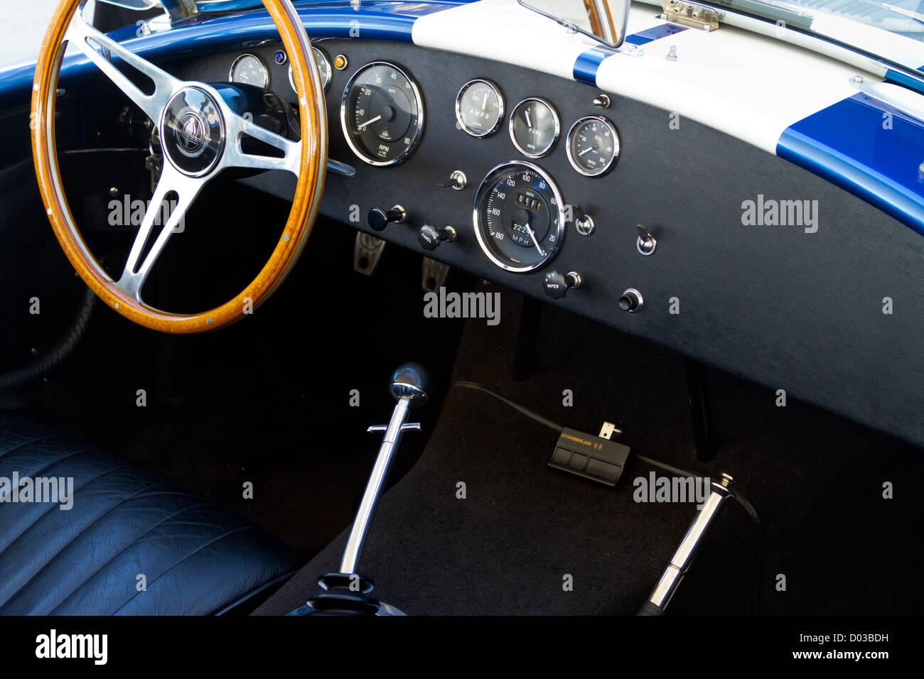 1965 Ford Shelby 427 Cobra interior detail Stock Photo