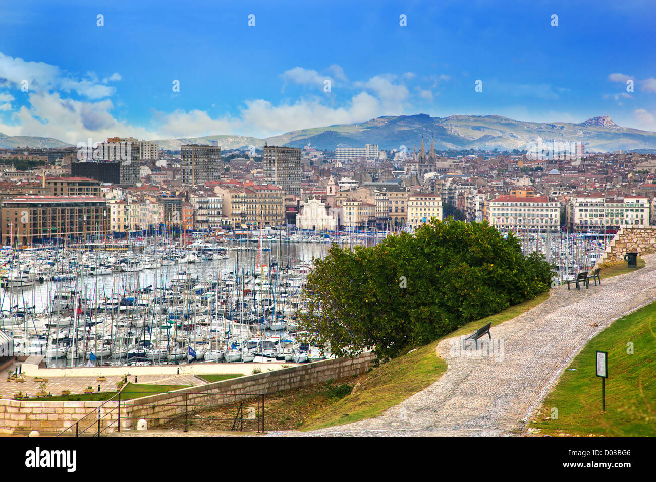 Marseille, France with the Old Port - Stock Image