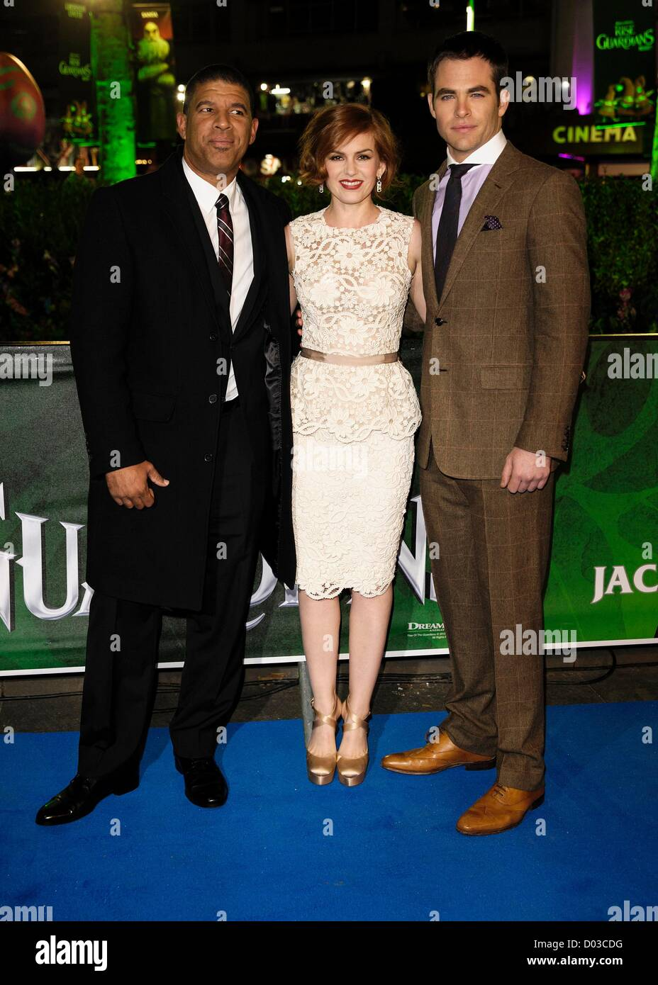 Isla Fisher, Chris Pine and Peter Ramsey (Director) Isla Fisher attends the UK Premiere of Rise of the Guardians - Stock Image