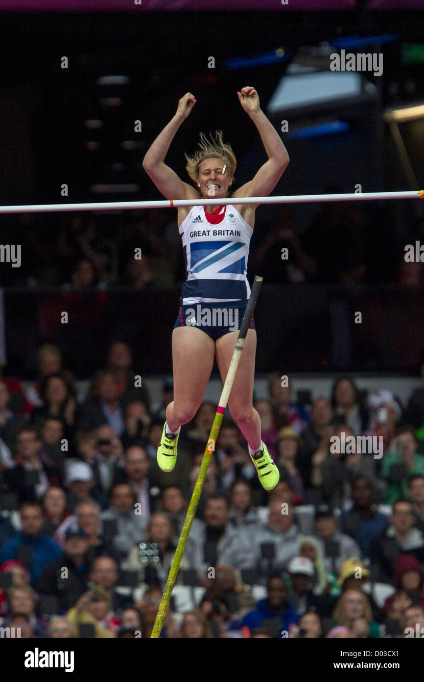 Holly Bleasdale (GBR) competing in the Women's Pole Vault at the Olympic Summer Games, London 2012 - Stock Image