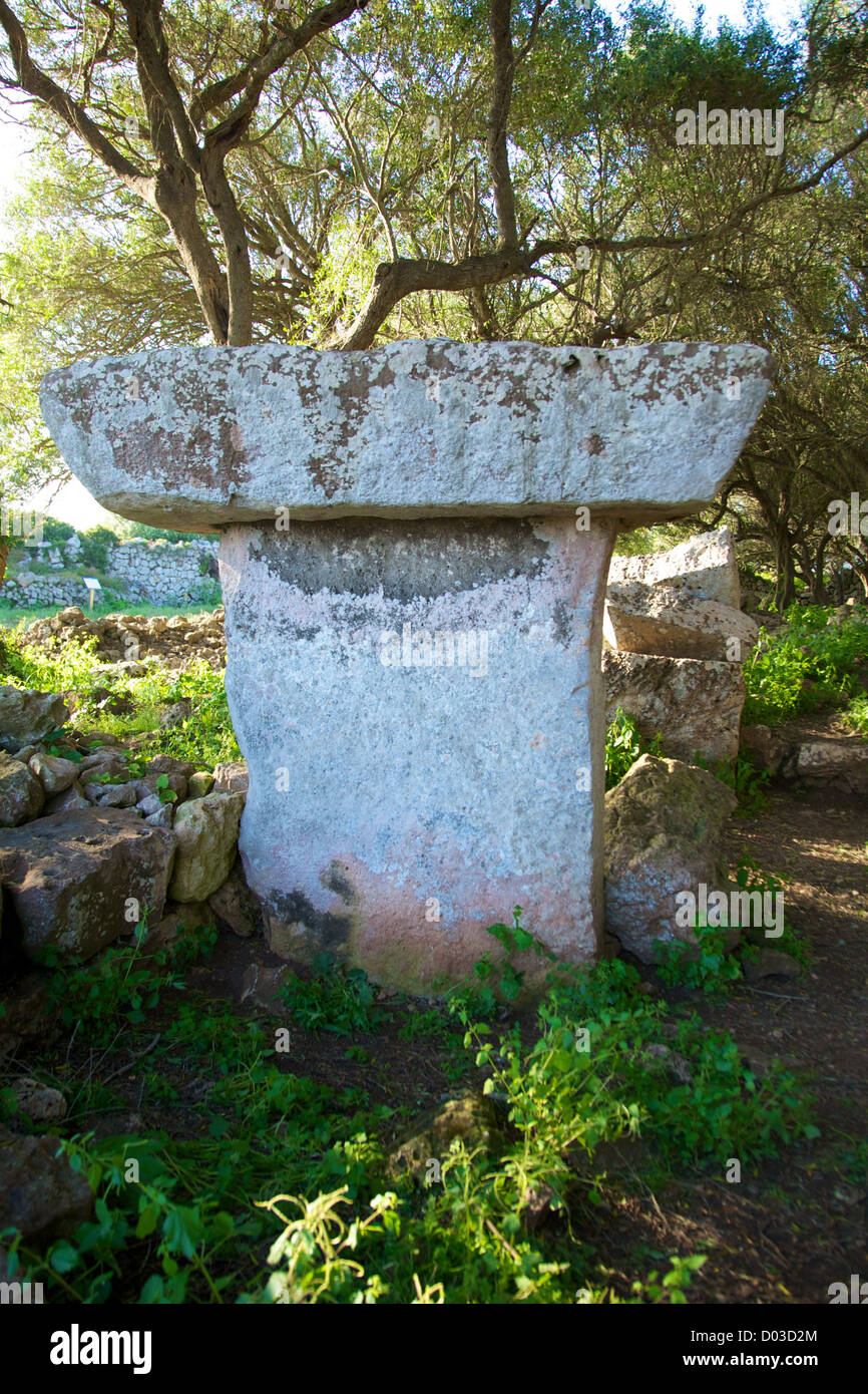 prehistoric talaiot monument at Menorca Island in Spain Stock Photo