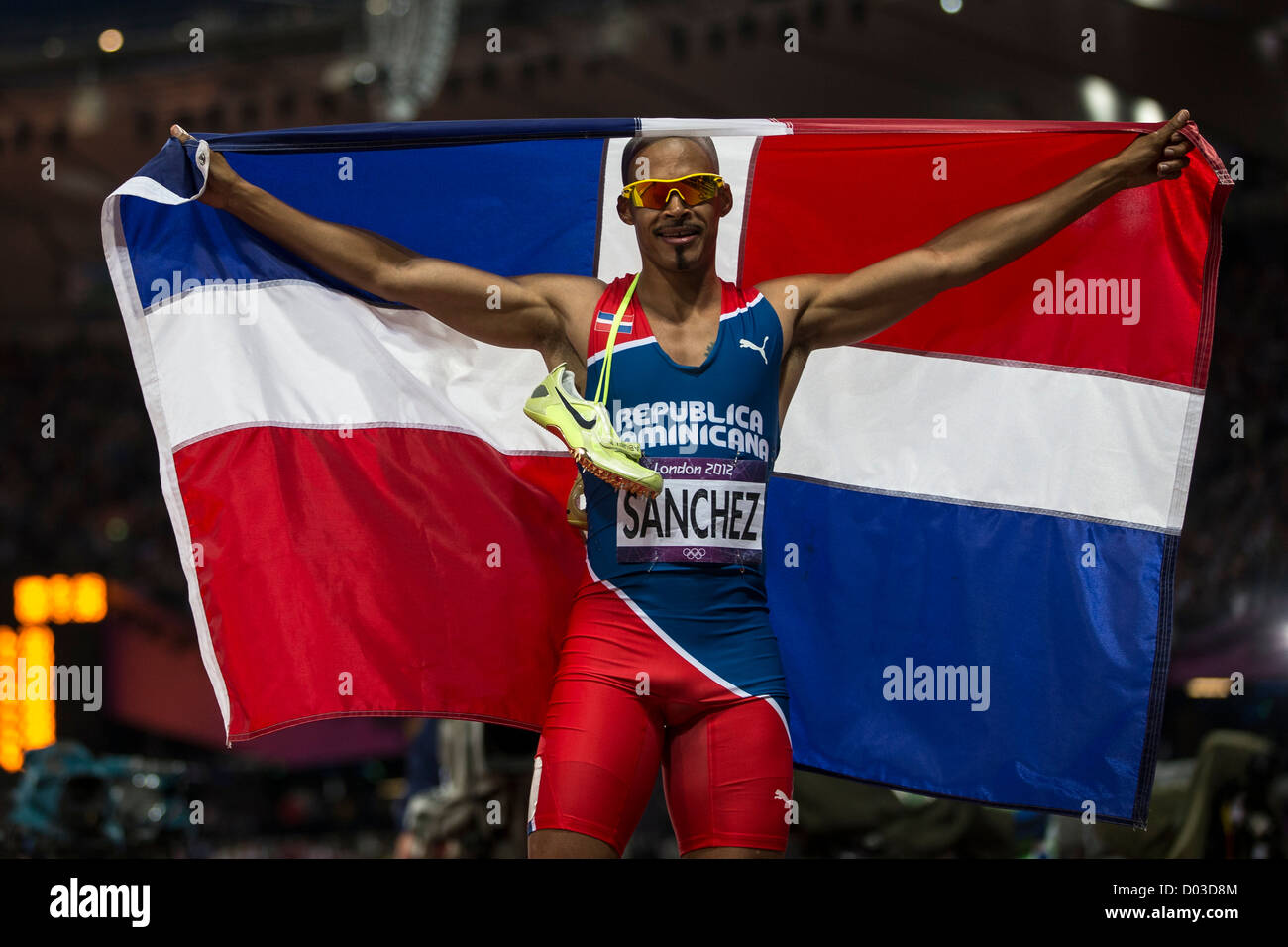 Felix Sanchez (DOM) gold medal winner in the Men's 400m Hurdles at the Olympic Summer Games, London 2012 - Stock Image