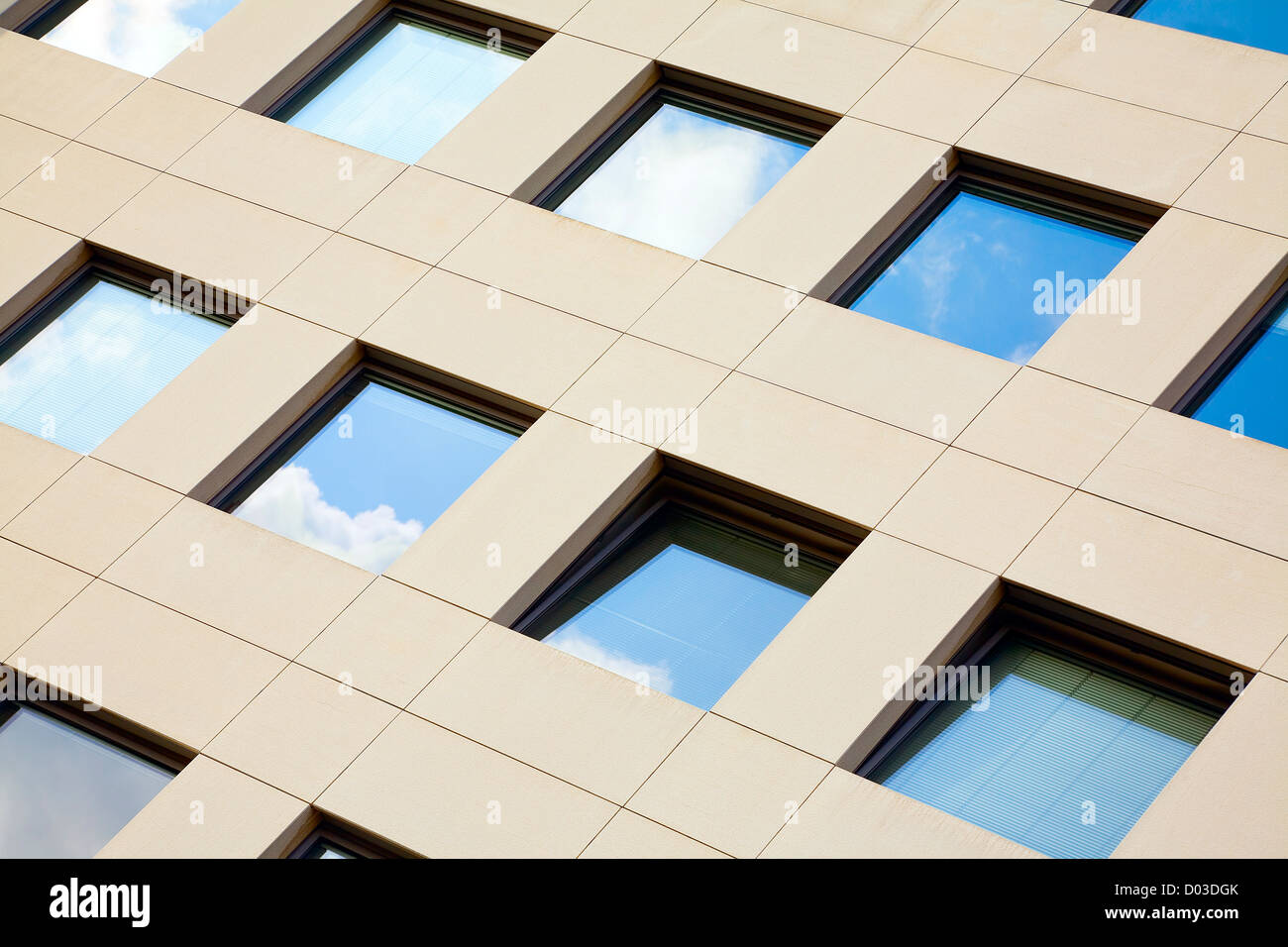 View of modern stone facade in city Luxembourg / Luxembourg, summer - Stock Image