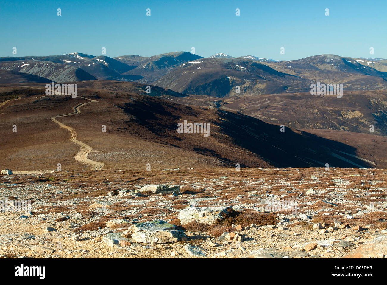 The Cairngorms from the Corbett of Morrone, Aberdeenshire - Stock Image