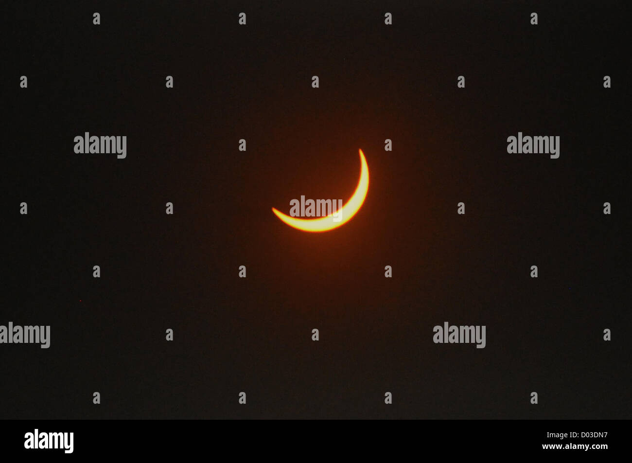 View of a total solar eclipse as it cut across the northern tip of Australia November 13, 2012 in Cairns, Australia. - Stock Image