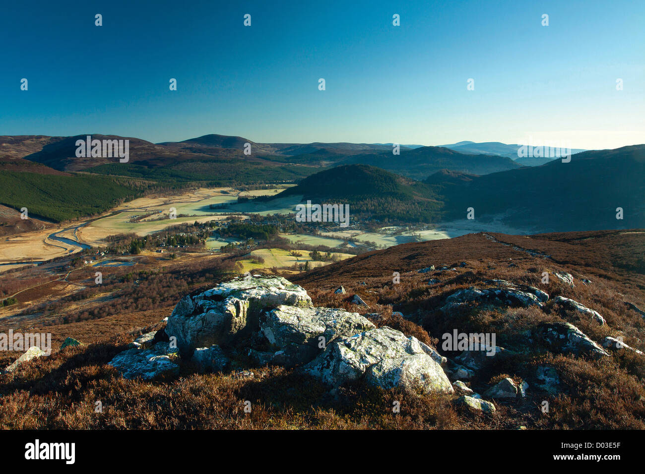 Braemar and the River Dee from the Corbett of Morrone, Aberdeenshire - Stock Image