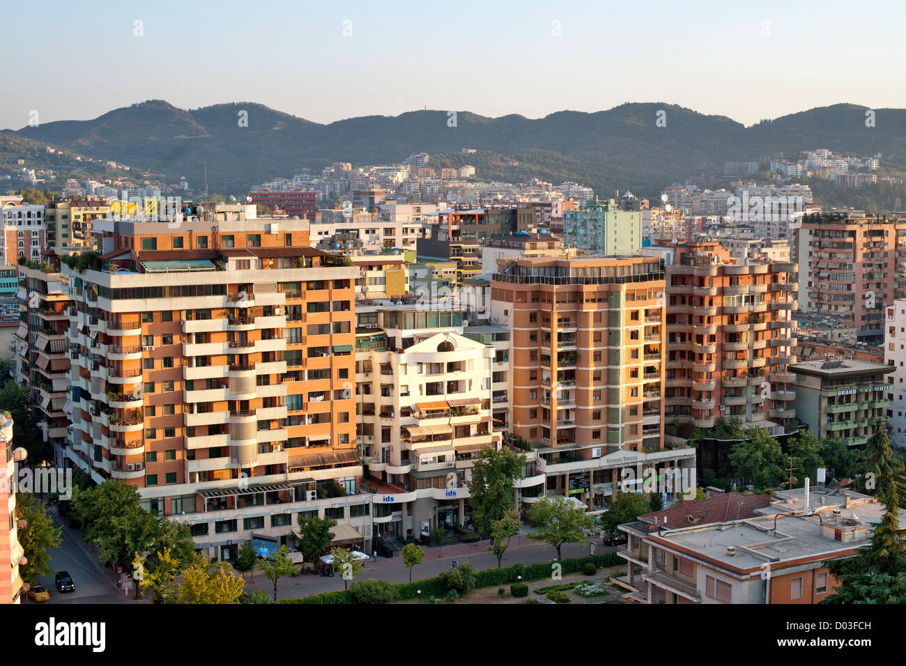 View across the city of Tirana, the capital of Albania. - Stock Image