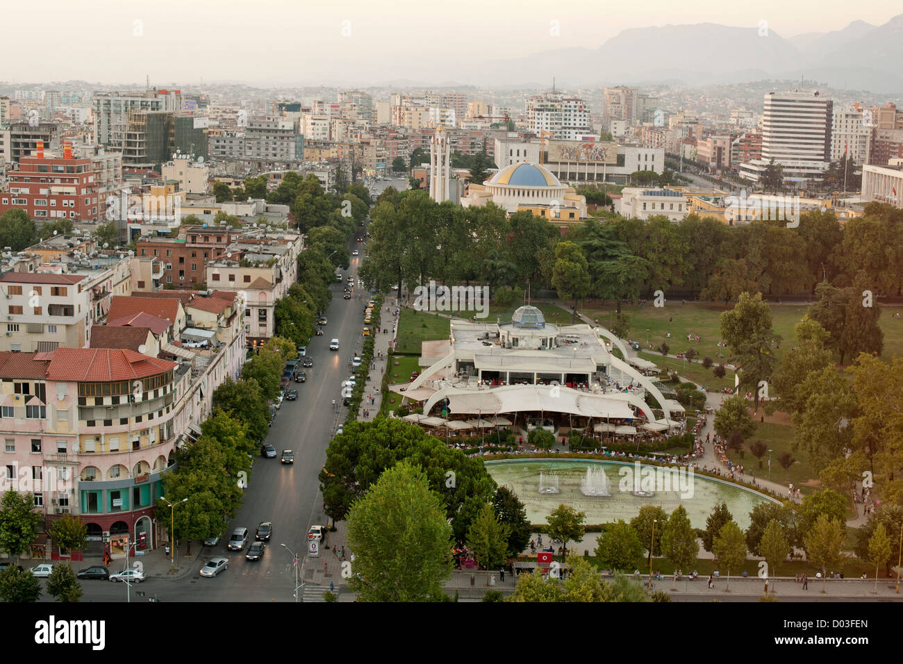 View across the city of Tirana, the capital of Albania. In the foreground is Rinia Park. - Stock Image