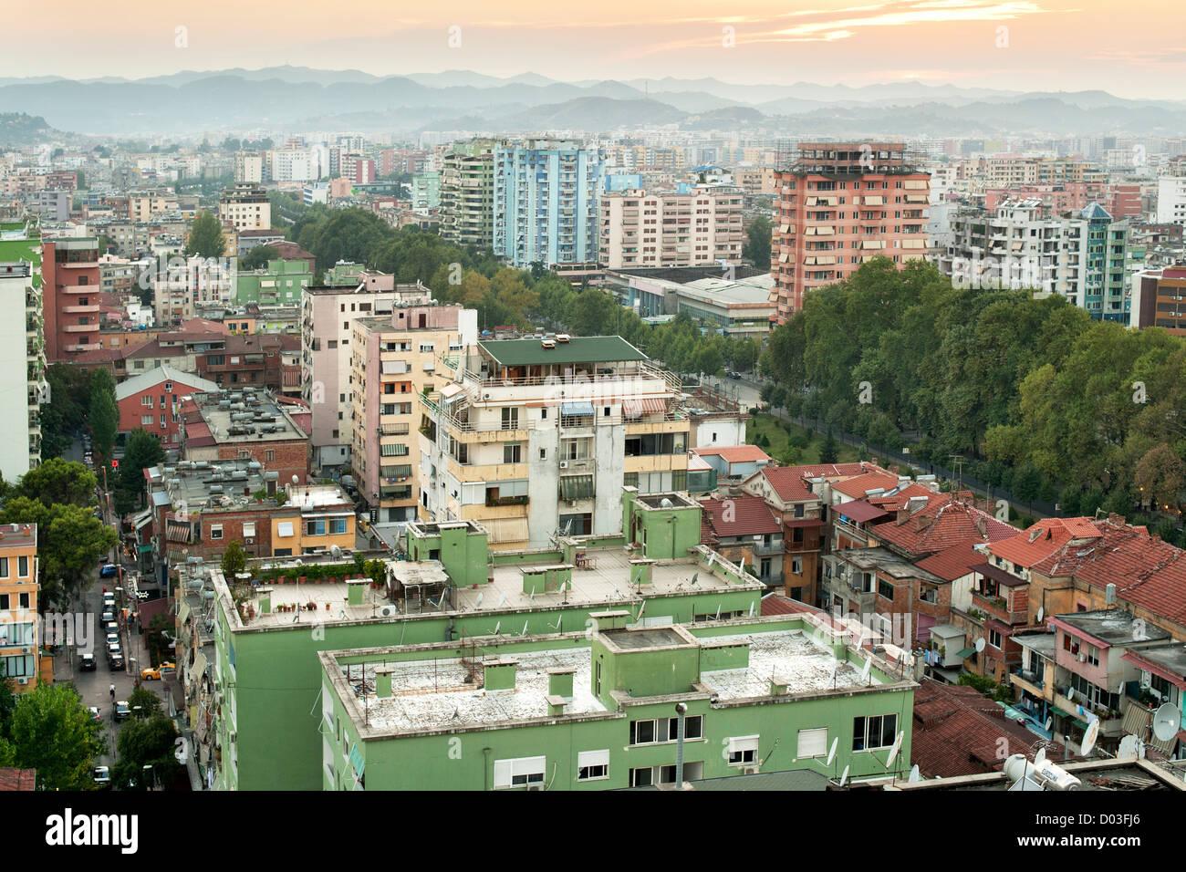 View across the city of Tirana, the capital of Albania. - Stock Image