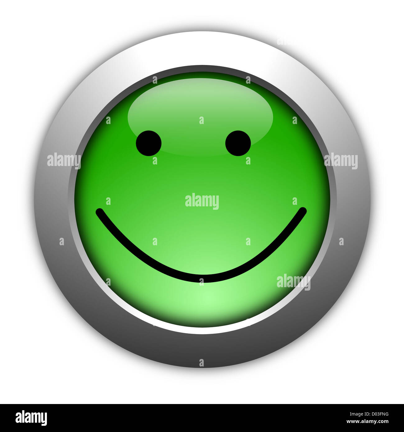 customer satisfaction survey concept with smilie and button - Stock Image
