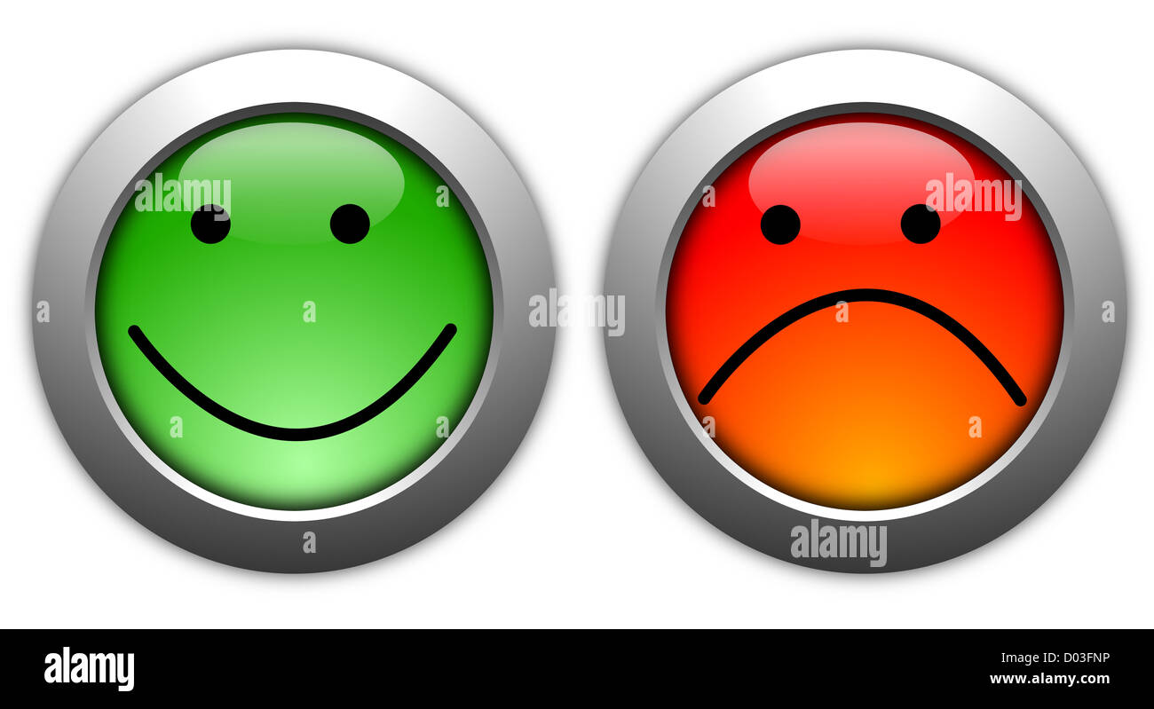 poll or customer satisfaction survey concept with smilie button - Stock Image