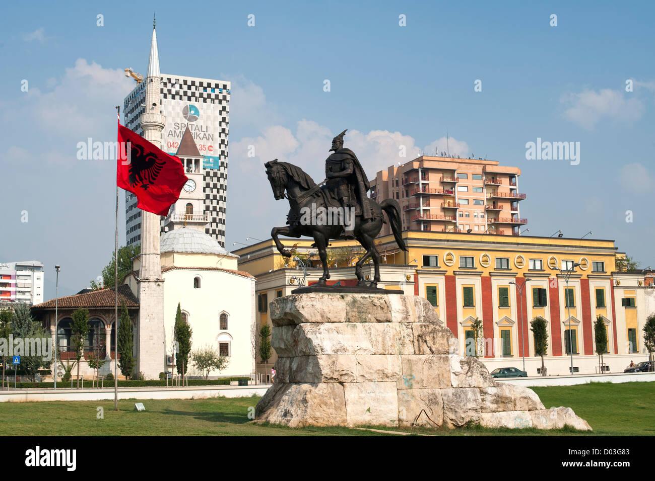 The Skanderbeg Monument in Skanderbeg Square in Tirana, the capital of Albania. - Stock Image