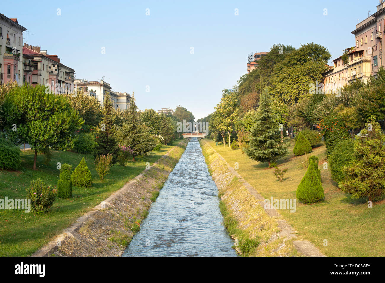 The Lana 'river' in Tirana, the capital of Albania. - Stock Image
