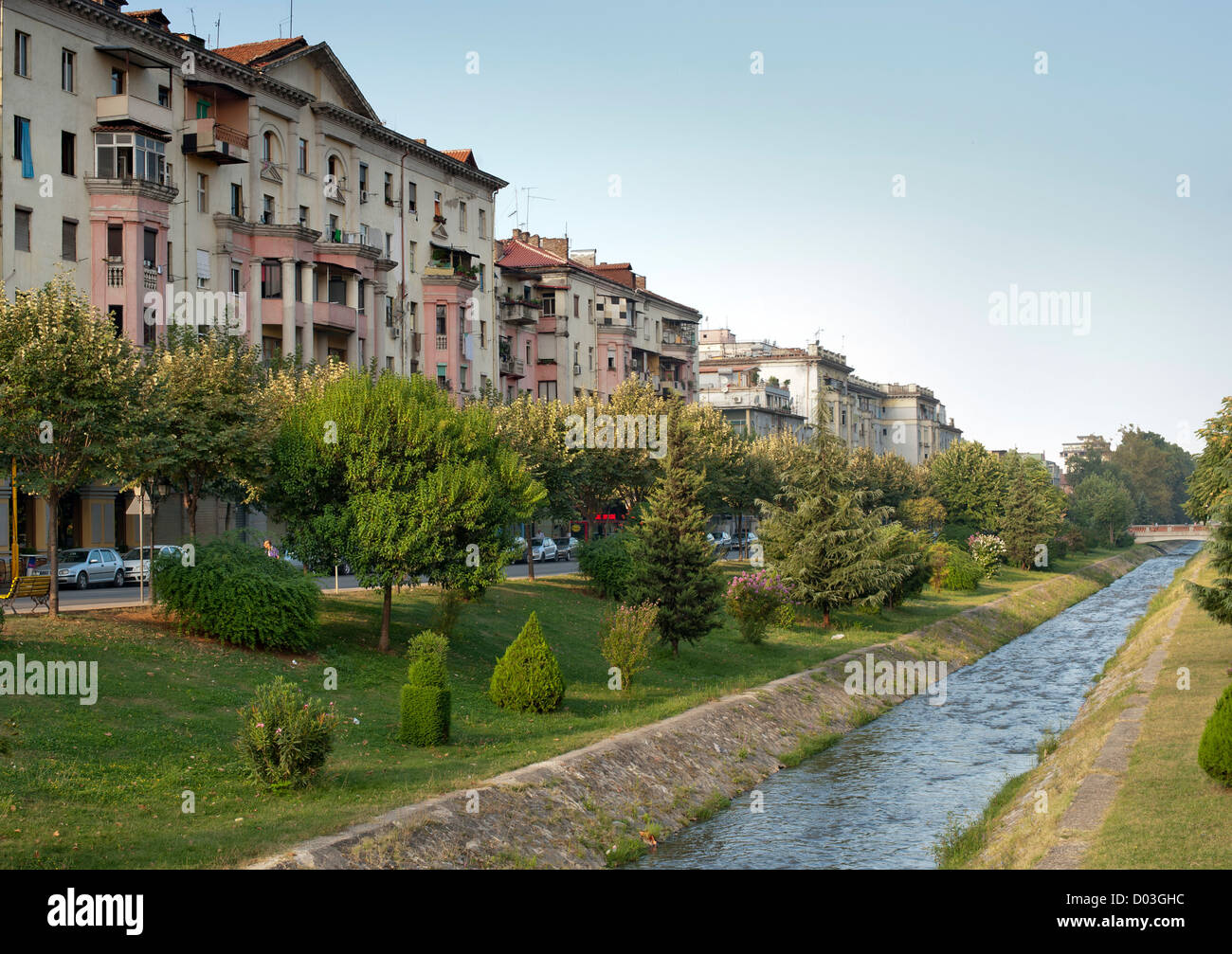 The Lana 'river' in Tirana, the capital of Albania. Stock Photo