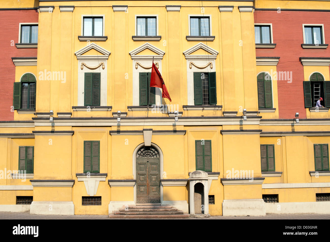 Administrative building in Tirana, the capital of Albania. - Stock Image