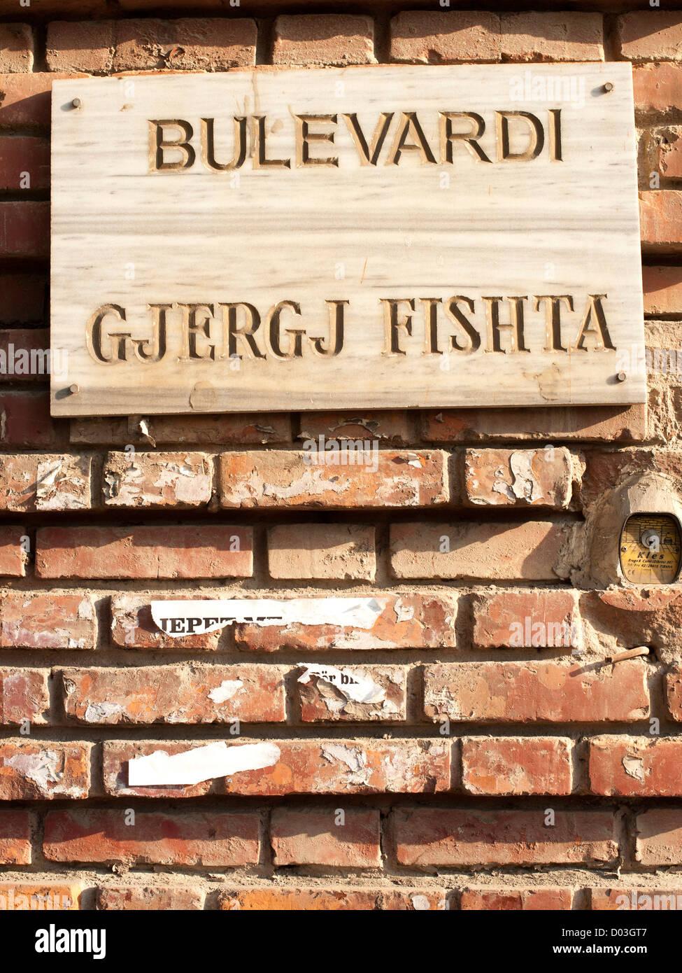 Sign for Gjergji Fishta Boulevard in Tirana, the capital of Albania. - Stock Image