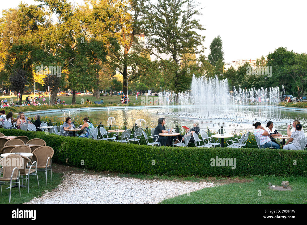 Rinia park and fountains in central Tirana, the capital of Albania. - Stock Image