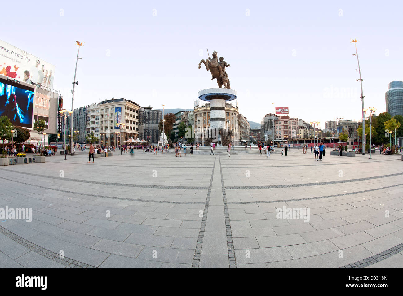 'Warrior on a Horse', a 28-metre high fountain in the centre of Skopje, the capital of Macedonia. - Stock Image