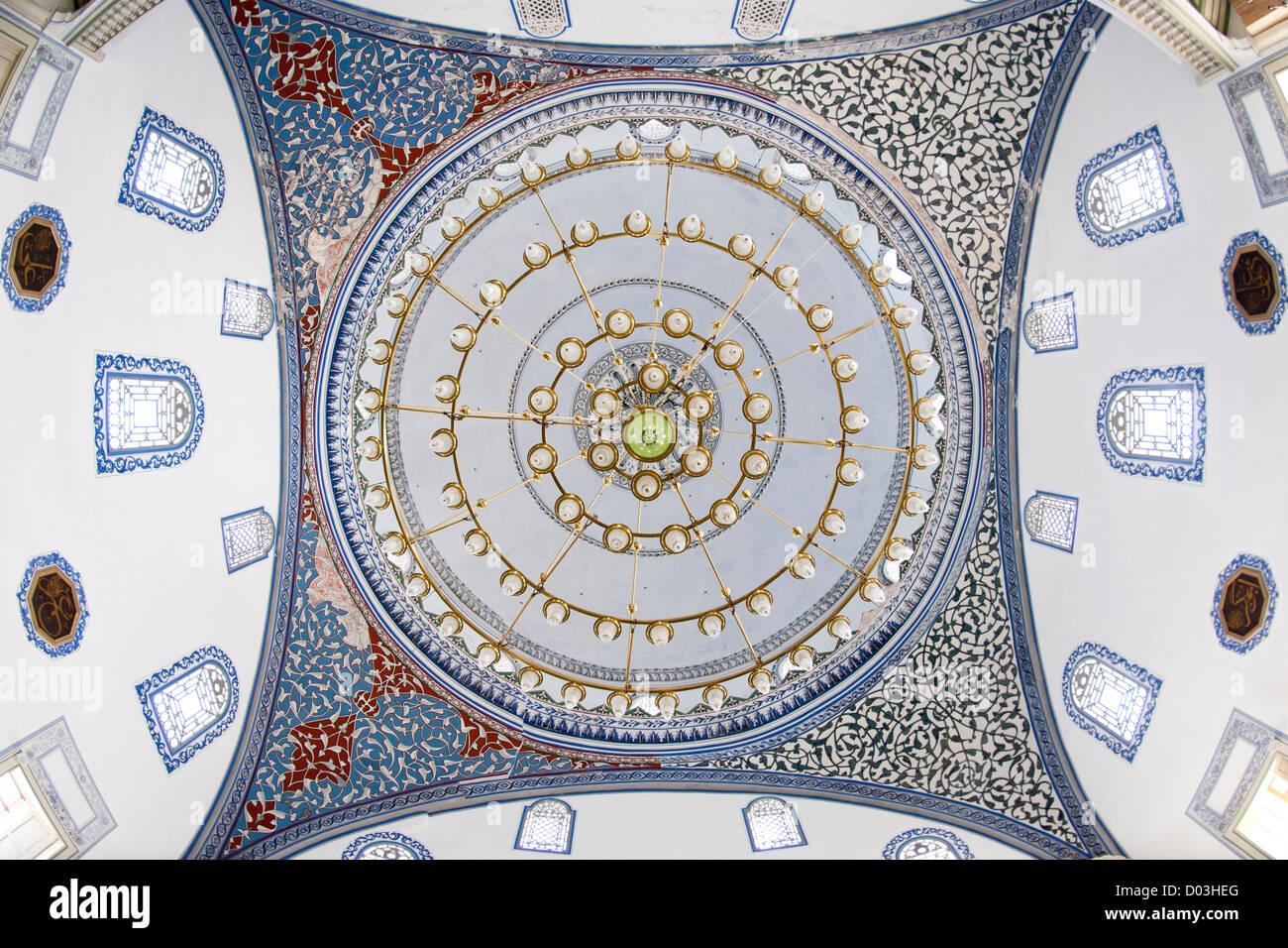 Ceiling of the Mustafa Pasha mosque in Skopje, the capital of Macedonia. - Stock Image