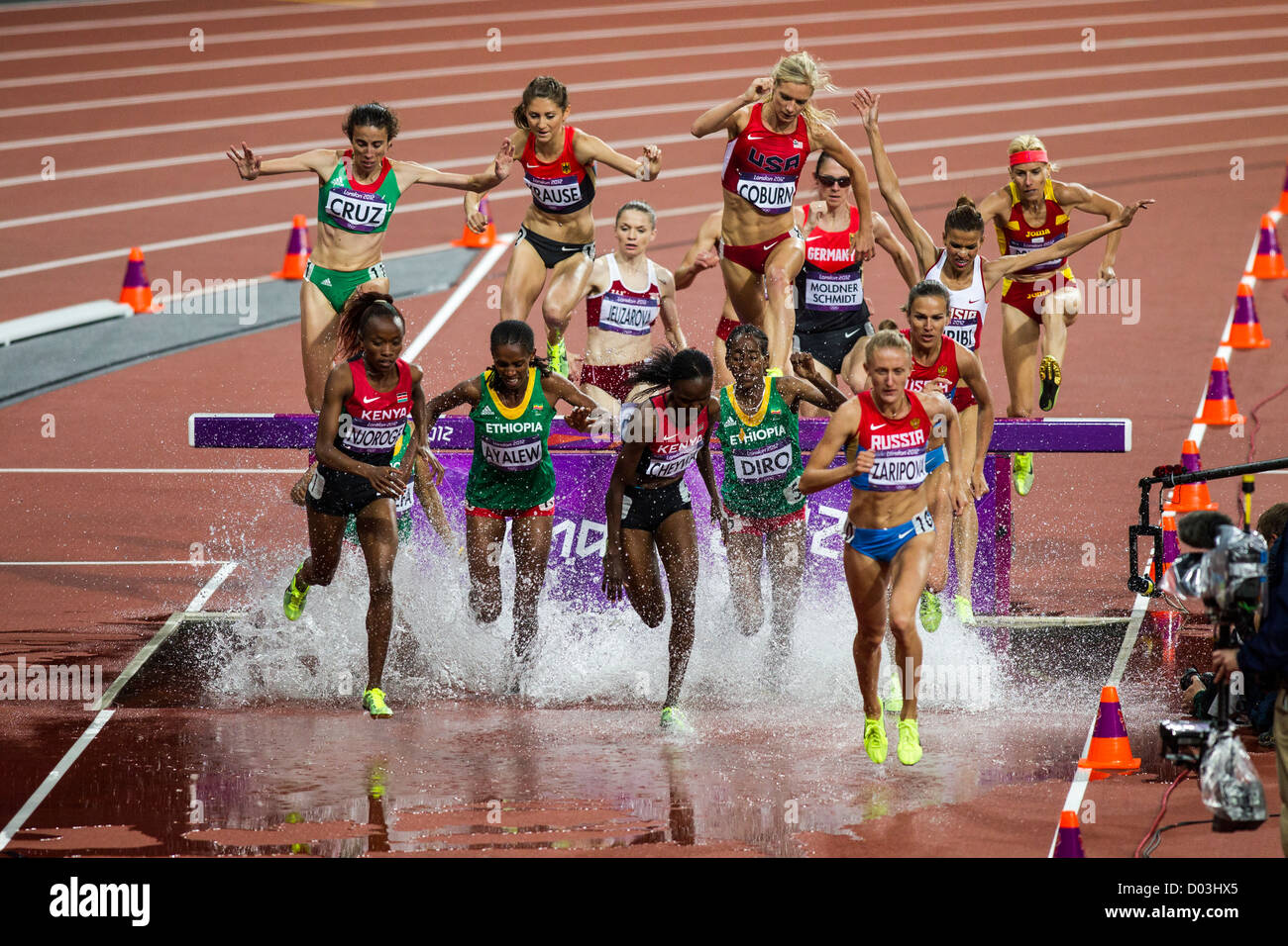 Action of women competing in the women 39 s 3000m for Steeple chase