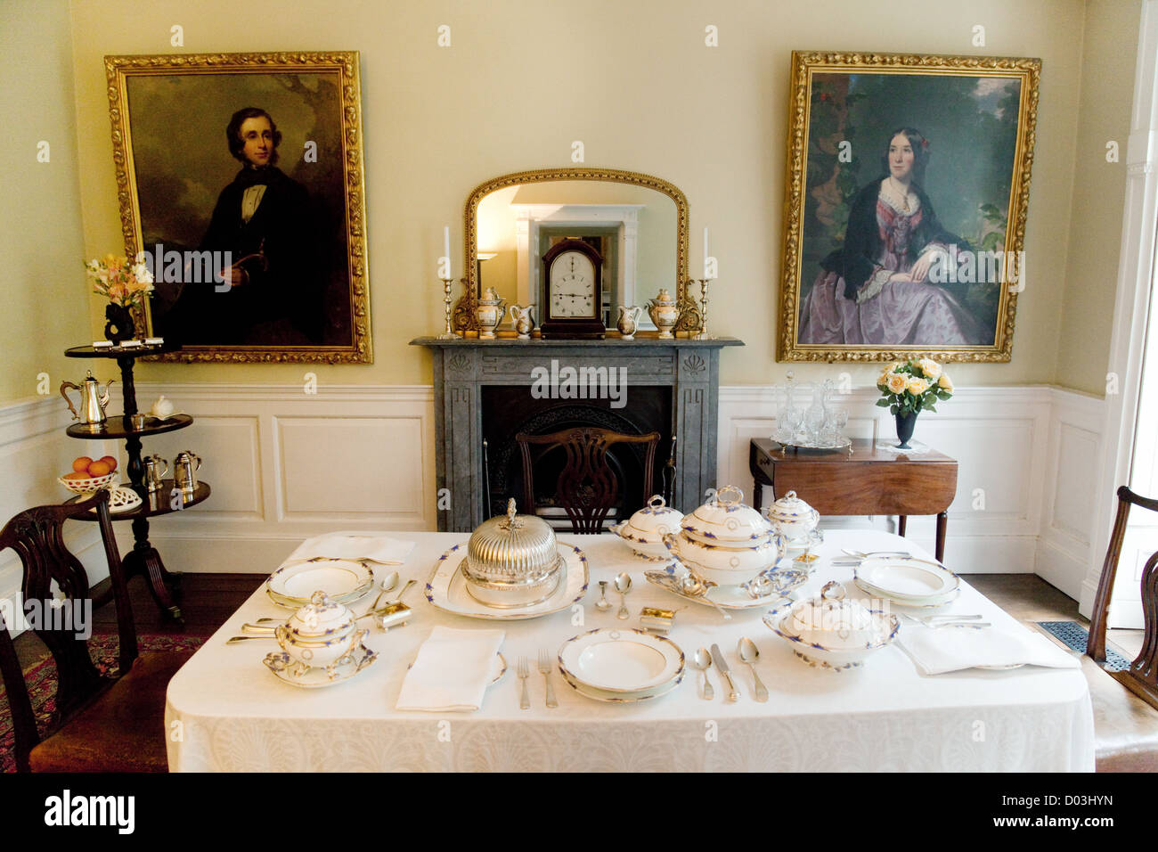 Georgian house interior, the Dining room, Rosehill House, the Darby Houses, Coalbrookdale Ironbridge Shropshire - Stock Image