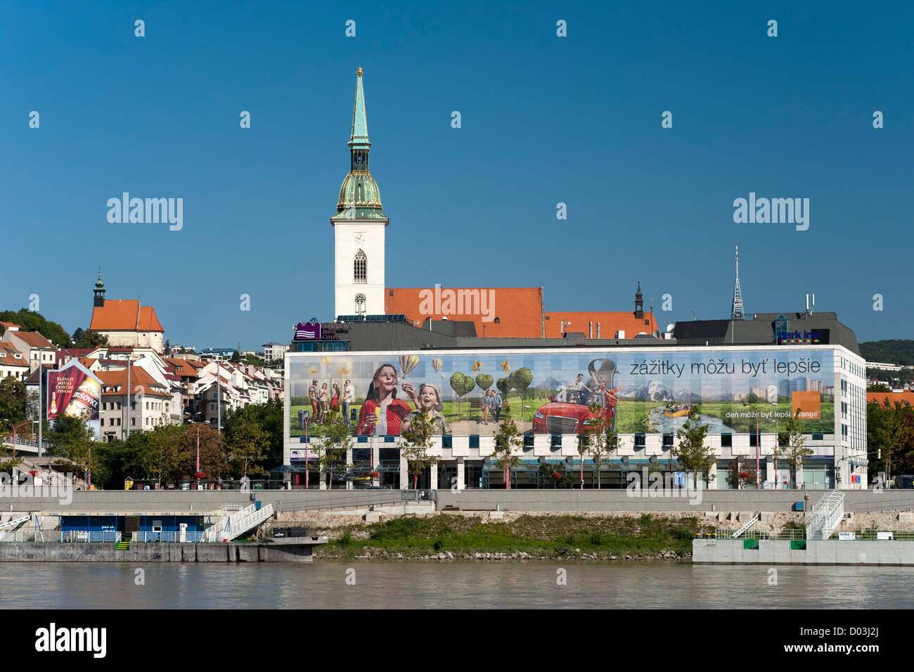 St. Martin's Cathedral (aka the Coronation Church) and the Danube River in Bratislava, the capital of Slovakia. - Stock Image