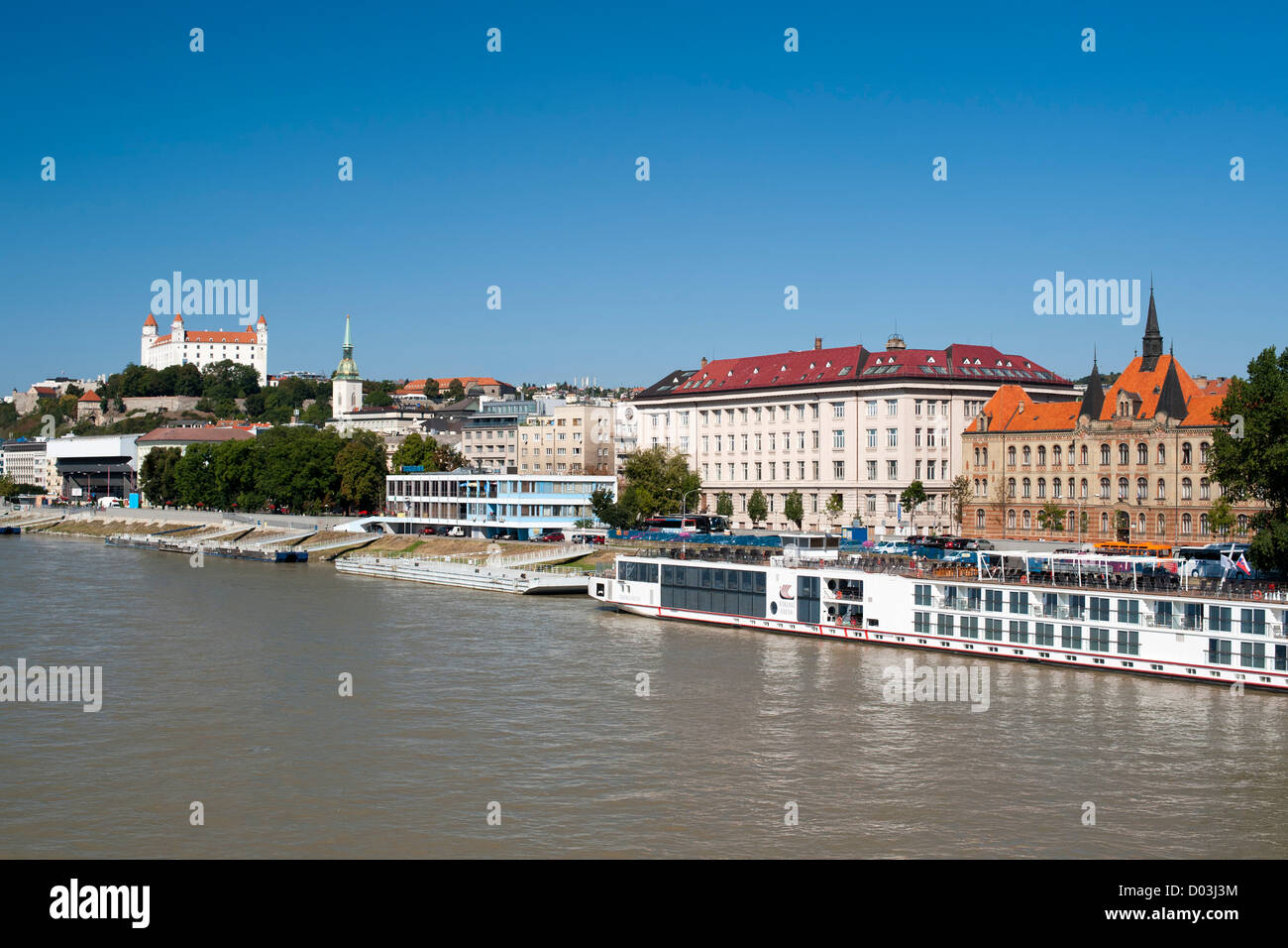 View of Bratislava, the capital of Slovakia. Visible are Bratislava castle, St Martin's Cathedral and the Danube - Stock Image