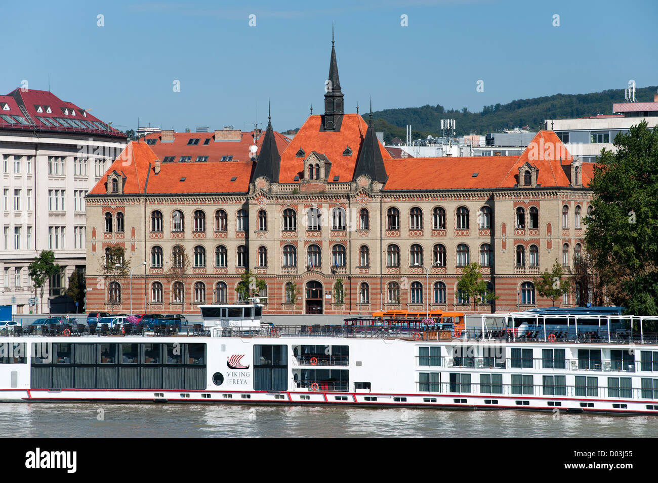 The Stredna Priemyselna Skola Strojnicka building on the banks of the Danube in Bratislava, the capital of Slovakia. - Stock Image