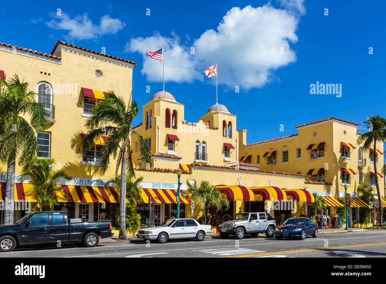 The historic Colony Hotel on Atlantic Avenue in historic downtown Delray Beach,  Treasure Coast, Florida, USA - Stock Image
