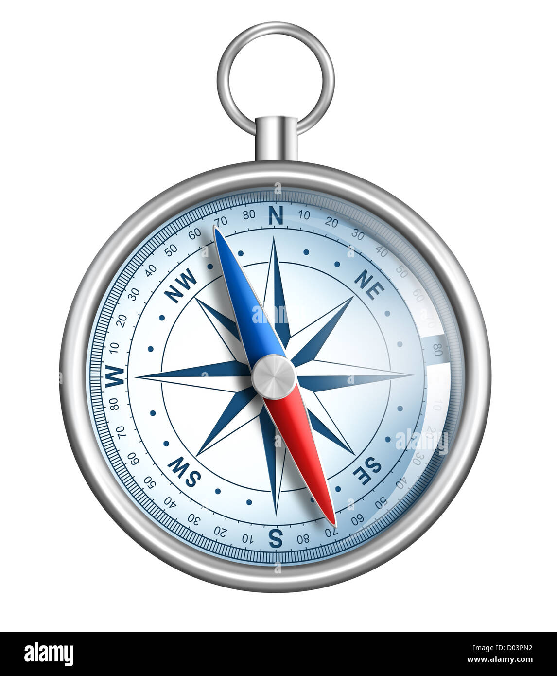 compass isolated on white realistic illustration - Stock Image