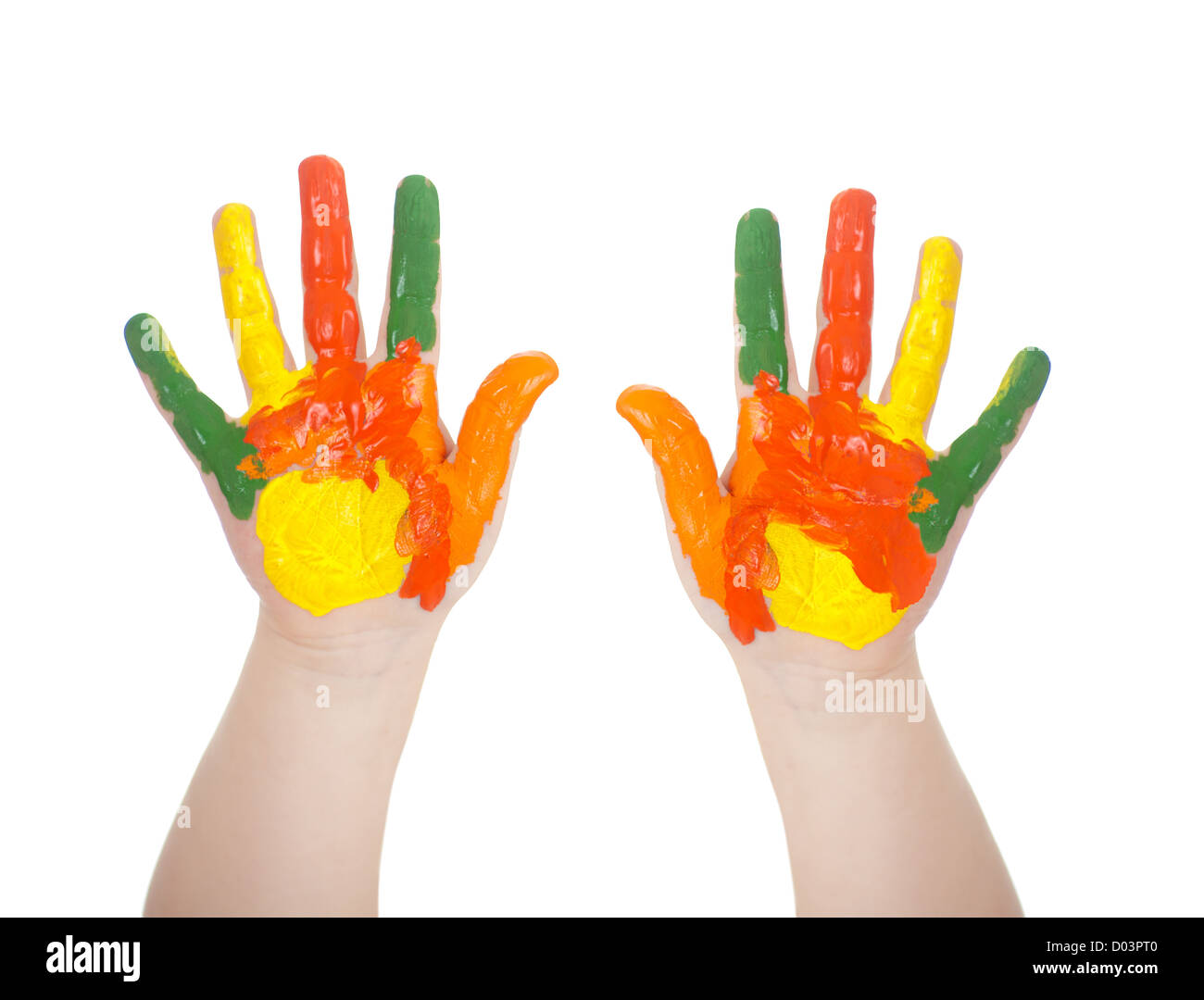 Kid's hands painted in bright colors isolated on white - Stock Image