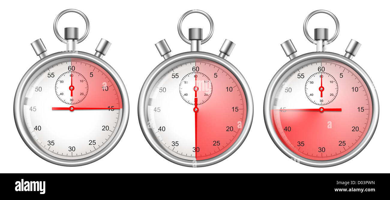 stopwatches set isolated on white with 15, 30, 45 seconds period highlighted - Stock Image