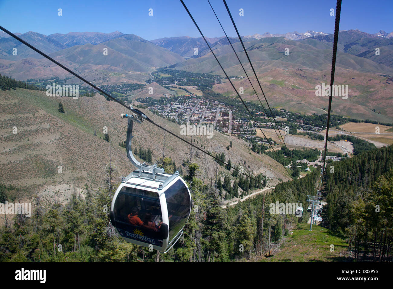 Idaho, Ketchum, Sun Valley, view of Ketchum and Sun Valley, from Roundhouse Gondola - Stock Image