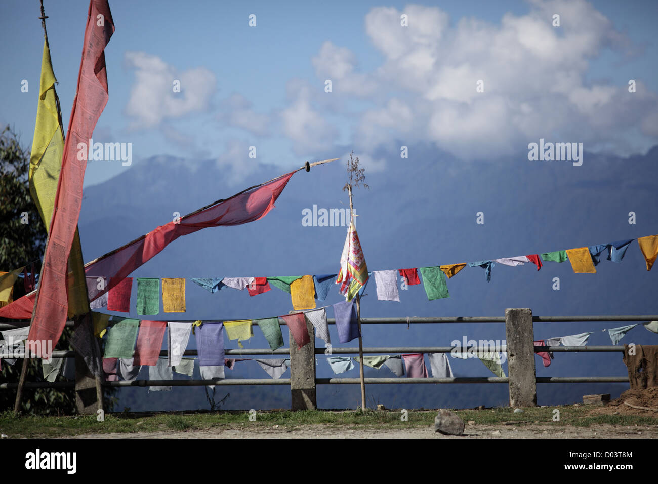Prayer flags in Bhutan. - Stock Image