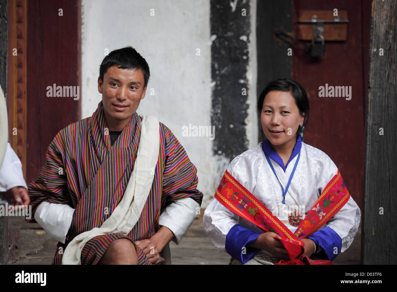 Monk and his wife. - Stock Image