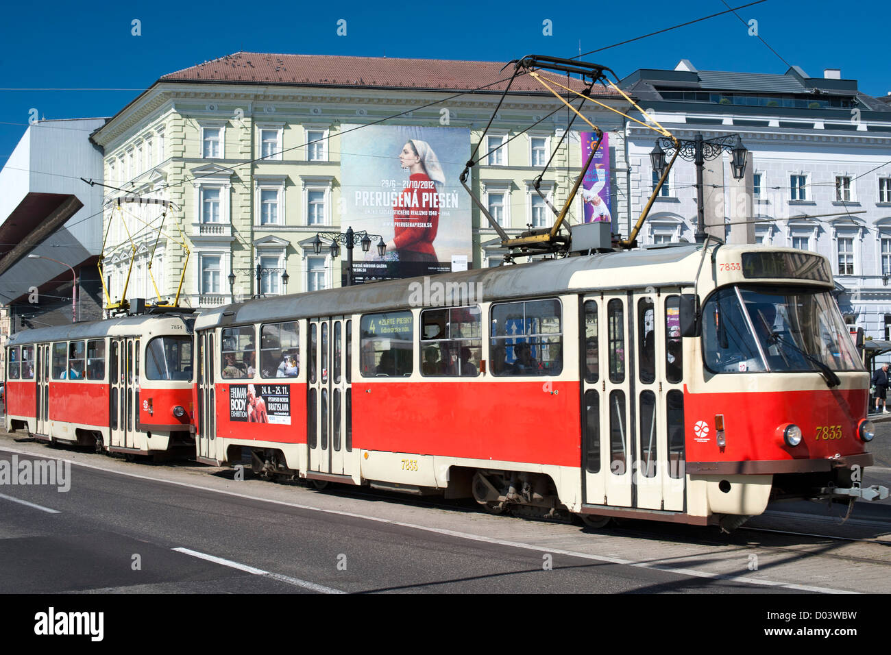 Tram in the streets of Bratislava, the capital of Slovakia. - Stock Image