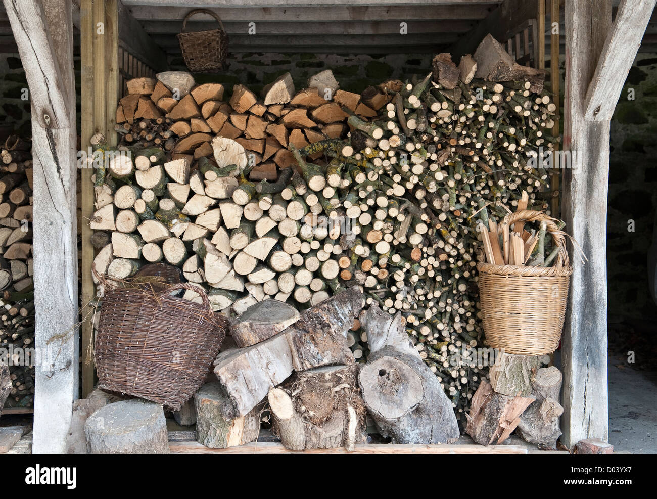 Firewood stacked and ready for the winter, Wales, UK. - Stock Image